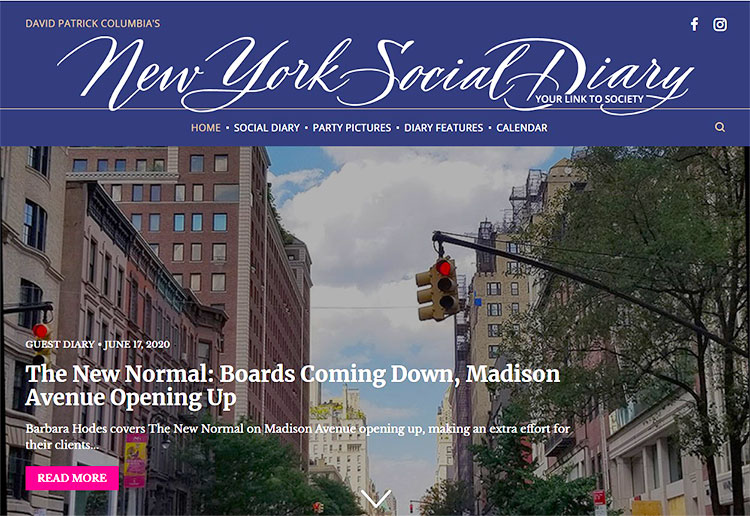 New York Social Diary Column on Shopping Madison Avenue