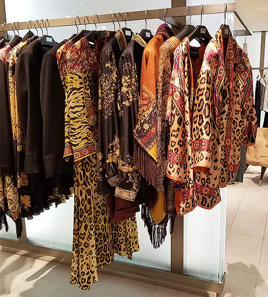 Animal print collage dresses and tops