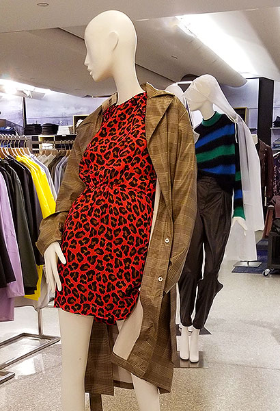 Red leopard print dress in NYC