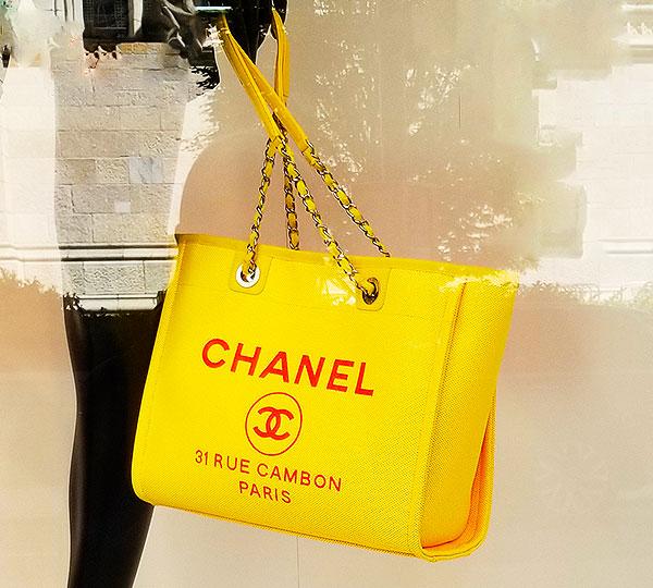 A sunny yellow chanel bag