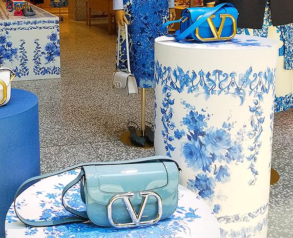 Blue handbags.