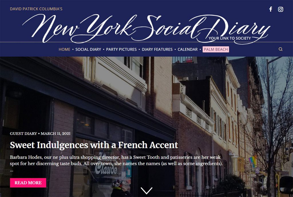 New York Social Diary Column on Sweets