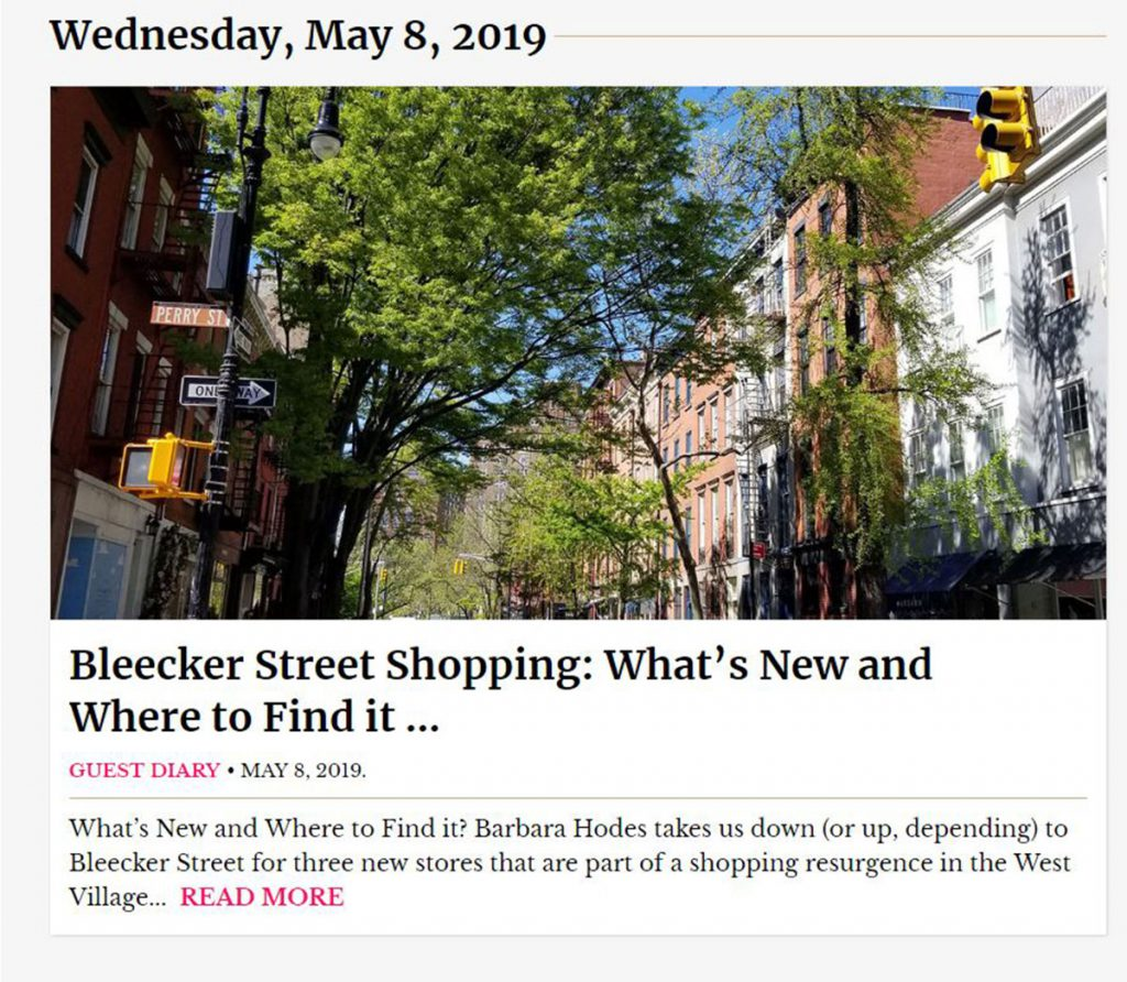 New York Social Diary Column Bleecker ST