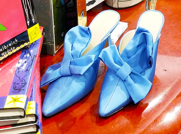 Turquoise mules for spring