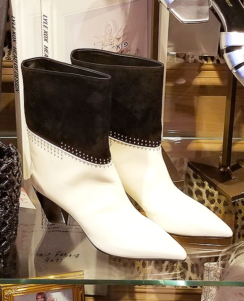 Chic black and white boots