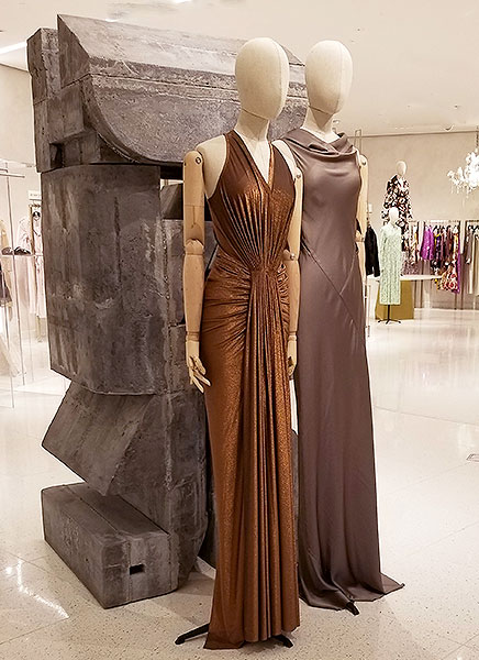 Neutral evening dresses are sleek and chic