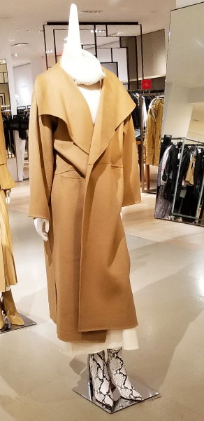 A wrapped camel coat