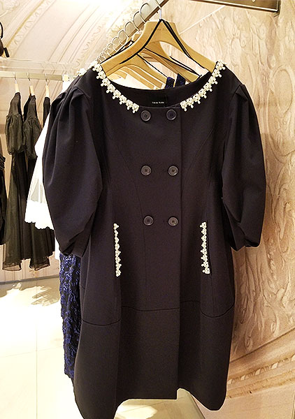 Pearled neckline on a black dress