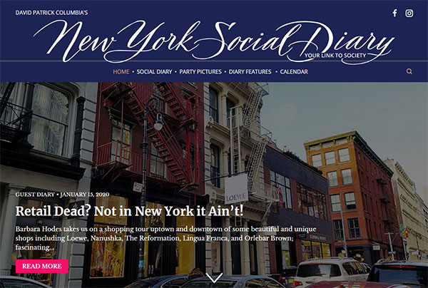 New York Social Diary Lead Story 15 January 2020