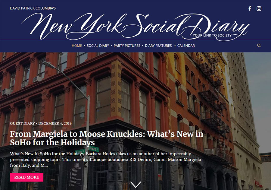 New York Social Diary Soho Shopping Column Dec 2019