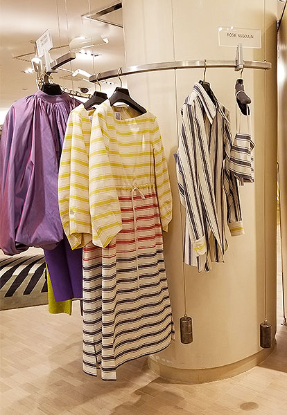 Dresses and shirts in stripes.