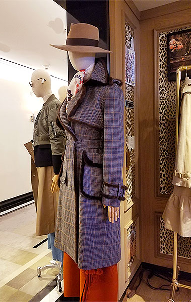 Plaid and check double bound coat