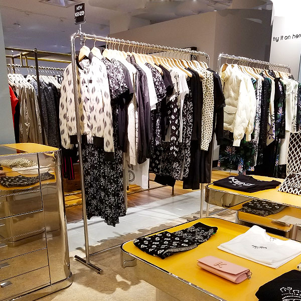 A rack of black and white clothing