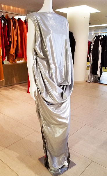 Rick Owens silver metal drape dress