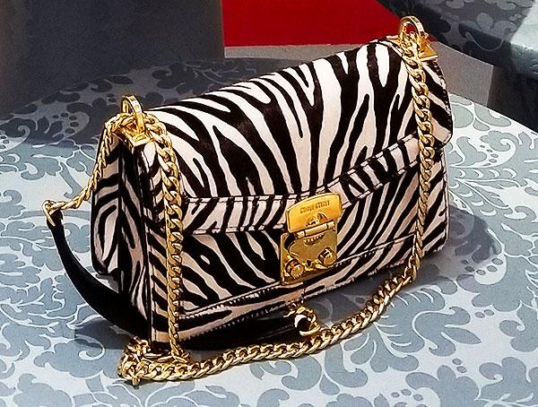 A zebra print spring Bag