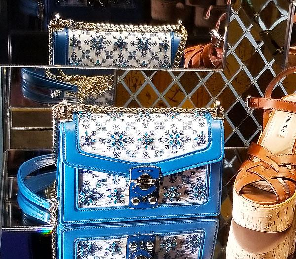 Carry the jeweled spring bag from Miu Miu