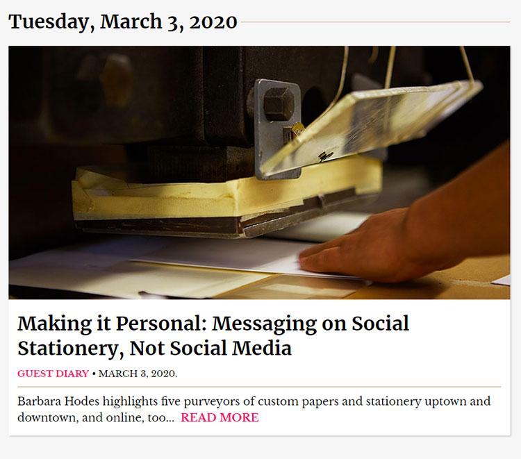 New York Social Diary colun on Social Stationery