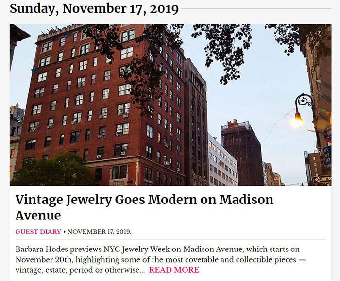 Barbara Hodes column for New York Social Diary on Vintage Jewelry on Madison Ave
