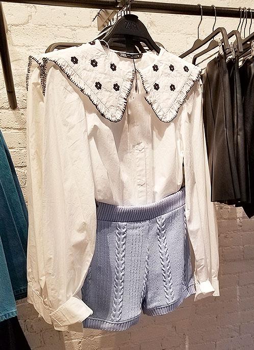 Collar stories framing face blouse
