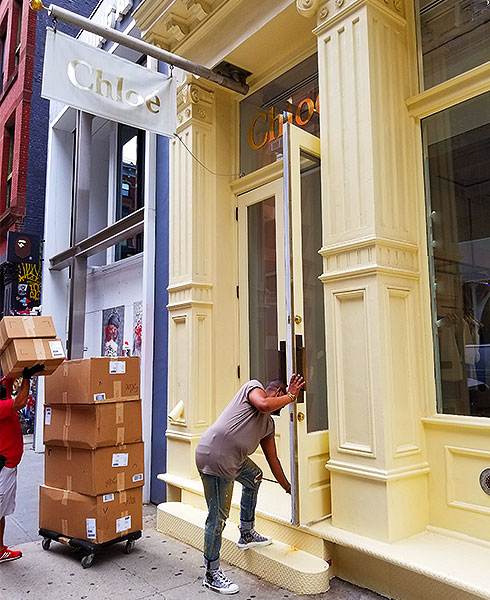 Clothing is delivered in Soho